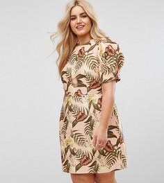 Фактурное платье миди с цветочным принтом ASOS CURVE - Мульти