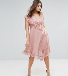 Асимметричное чайное платье миди из ткани добби ASOS CURVE - Розовый