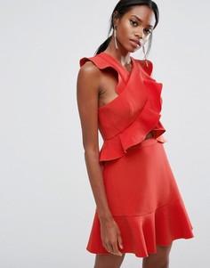 Платье мини с оборками BCBG MAXAZRIA - Красный