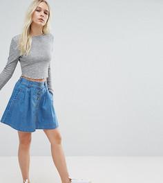 Выбеленная синяя расклешенная мини-юбка на пуговицах ASOS PETITE - Синий