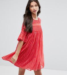 Свободное присборенное платье в клеточку ASOS PETITE - Мульти