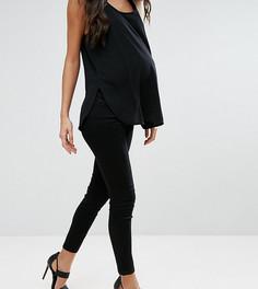 Черные джинсы скинни с посадкой под животом ASOS MATERNITY PETITE RIDLEY - Черный