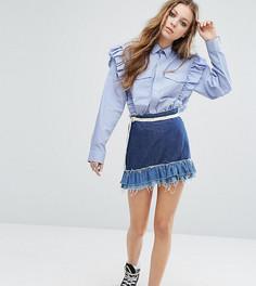 Джинсовая мини-юбка с контрастными оборками Milk It Vintage - Синий