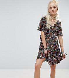 Платье с разноцветным цветочным принтом и запахом Milk It - Мульти