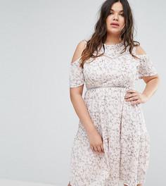 Приталенное платье с цветочным принтом Boohoo Plus - Мульти