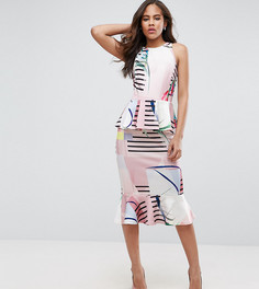 Платье-футляр с баской и принтом ASOS TALL - Мульти