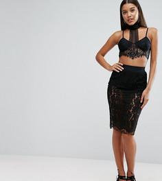 Кружевная юбка миди NaaNaa - Черный