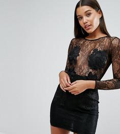Платье мини с кружевной аппликацией NaaNaa - Черный