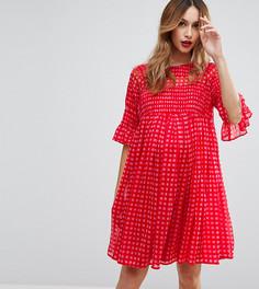 Свободное платье в клеточку с прозрачными вставками ASOS Maternity - Красный