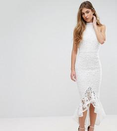 Кружевное платье-халтер миди с юбкой-годе Missguided - Белый