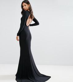 Платье макси асимметричной длины с открытой спиной Club L - Черный