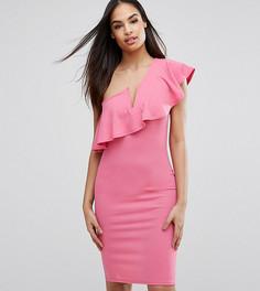 Платье на одно плечо с рюшами Club L - Розовый
