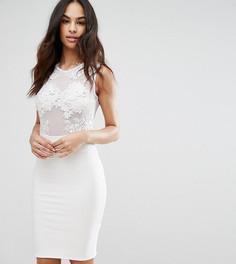 Платье миди с сетчатой отделкой и кружевом Club L - Белый