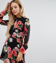 Короткое приталенное платье с цветочным принтом и вырезом капелькой Missguided Petite - Черный
