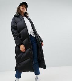 Длинная дутая куртка ASOS PETITE - Черный