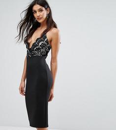 Платье миди 2 в 1 с кружевом кроше на топе Club L - Черный