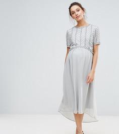 Платье миди асимметричной длины с декорированным лифом Maya Maternity - Серебряный