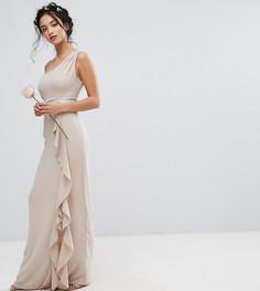 Платье макси на одно плечо с рюшами TFNC Petite Wedding - Розовый