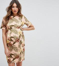 Строгое платье с тропическим принтом ASOS Maternity - Мульти