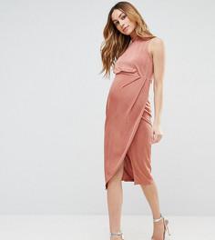 Облегающее платье миди с высоким воротом ASOS Maternity - Розовый