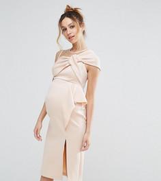 Платье-футляр миди с бантом и сетчатой отделкой ASOS Maternity - Розовый