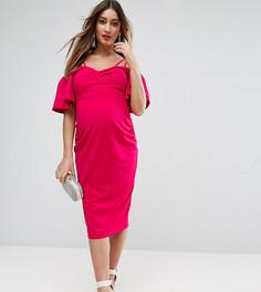 Платье миди из крепа с рукавами клеш ASOS Maternity - Розовый