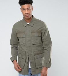 Куртка цвета хаки в стиле милитари ASOS TALL - Зеленый