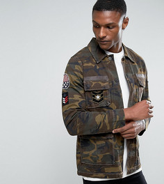 Куртка в стиле милитари с камуфляжным принтом ASOS TALL - Зеленый