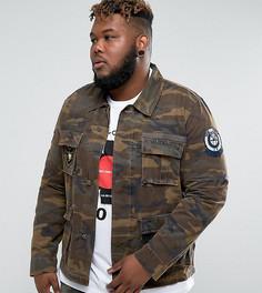 Камуфляжная куртка в стиле милитари ASOS PLUS - Зеленый