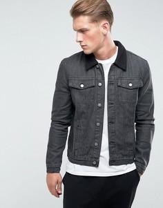 Джинсовая куртка с отделкой из овечьей шерсти на воротнике Another Influence - Черный