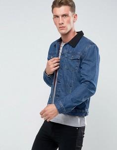 Джинсовая куртка с отделкой из овечьей шерсти на воротнике Another Influence - Синий