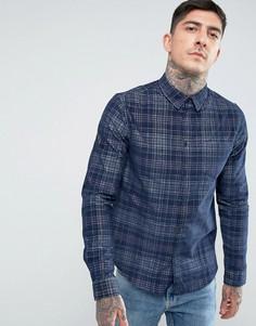 Вельветовая рубашка в клетку Another Influence - Темно-синий