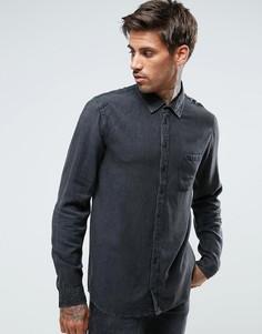 Джинсовая рубашка с эффектом кислотной стирки Another Influence - Черный