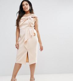 Платье-футляр миди с оборками ASOS CURVE - Розовый