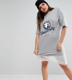 Платье-футболка с сетчатой вставкой на подоле ASOS CURVE - Серый