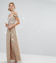 Платье макси с открытыми плечами и отделкой Maya Tall - Розовый