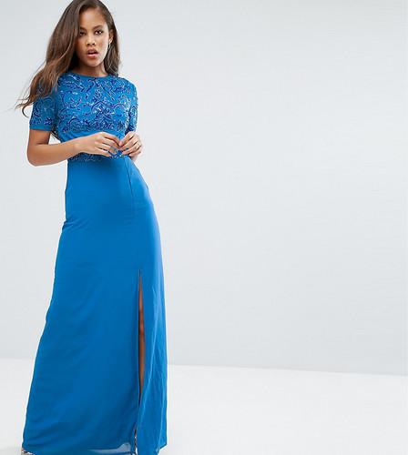 Платье макси с разрезом до бедра и пайетками на топе Maya Tall - Синий