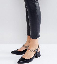 Туфли на каблуке для широкой стопы с острым носком и цепочками ASOS SAVAGE - Черный