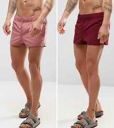 2 пары коротких шортов (темно-розовые, бордовые) ASOS - СКИДКА - Мульти