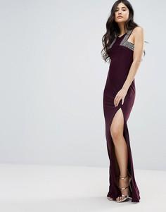Платье макси с разрезом сбоку AX Paris - Фиолетовый
