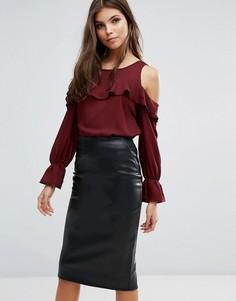 Блузка с оборками и открытыми плечами Ax Paris - Красный