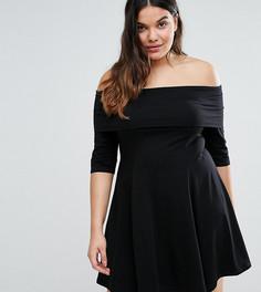 Приталенное платье мини с вырезом лодочкой и рукавами 3/4 ASOS CURVE - Черный