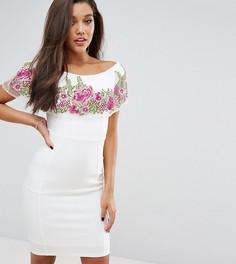 Облегающее платье с открытыми плечами и цветочной вышивкой Lipsy - Кремовый