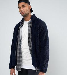 Темно-синяя oversize-куртка из искусственного меха ASOS TALL - Темно-синий