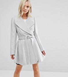 Расклешенное пальто с поясом и большим воротником ASOS PETITE - Серый