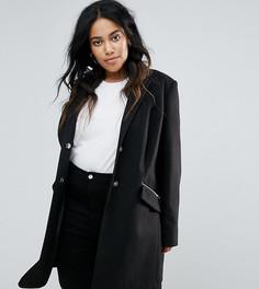 Узкое пальто бойфренда с карманами на молнии ASOS CURVE - Черный