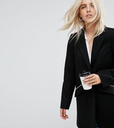Узкое пальто бойфренда с карманом на молнии ASOS PETITE - Черный