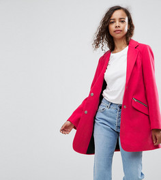 Узкое пальто бойфренда с карманом на молнии ASOS PETITE - Розовый