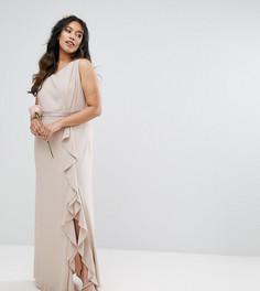 Платье макси с отделкой и оборкой TFNC Plus Wedding - Розовый
