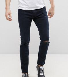 Темные джинсы скинни с дырками на коленях Mennace - Синий